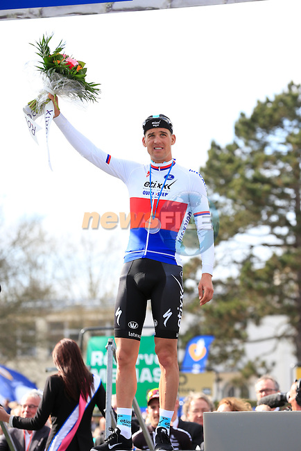 Zdenek Stybar (CZE) Etixx-Quick Step finishes in 2nd place at the end of the 113th edition of the Paris-Roubaix 2015 cycle race held over the cobbled roads of Northern France. 12th April 2015.<br /> Photo: Eoin Clarke www.newsfile.ie