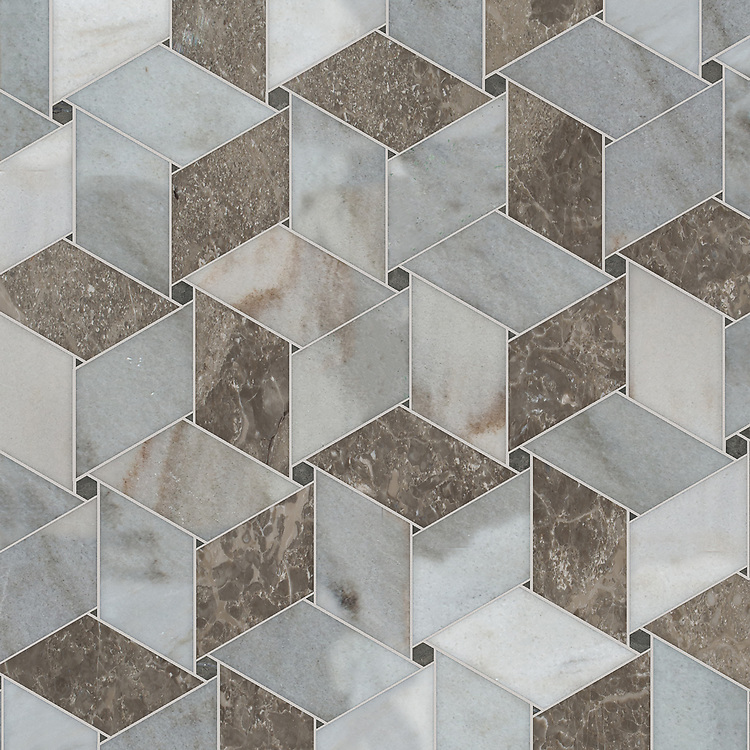 Pinwheel, a waterjet stone mosaic, shown in honed Cavern, Cashmere, and polished Kehena, is part of the Semplice® collection for New Ravenna.