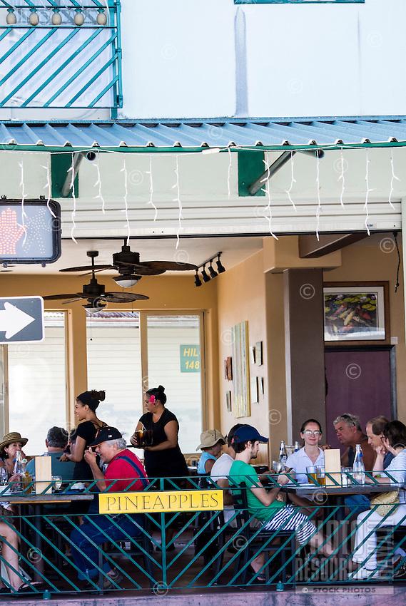 Pineapples restaurant in downtown Hilo, Big Island of Hawai'i.