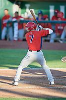 Brandon Sandoval (7) of the Orem Owlz bats against the Ogden Raptors in Pioneer League action at Lindquist Field on June 27, 2017 in Ogden, Utah. Ogden defeated Orem 14-5. (Stephen Smith/Four Seam Images)