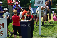 Bethesda, MD - July 2, 2017: A fan photo bombs a unsuspected photograph during final round of professional play at the Quicken Loans National Tournament at TPC Potomac at Avenel Farm in Bethesda, MD.  (Photo by Phillip Peters/Media Images International)
