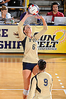 17 November 2011:  FIU setter Jessica Egan (6) sets a shot in the second set as the FIU Golden Panthers defeated the Denver University Pioneers, 3-1 (25-21, 23-25, 25-21, 25-18), in the first round of the Sun Belt Conference Tournament at U.S Century Bank Arena in Miami, Florida.