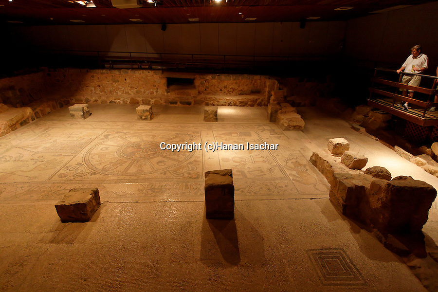 Israel, Harod valley. The mosaic floor of the ancient Synagogue in Beth Alpha