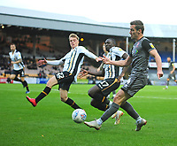 Lincoln City's Harry Toffolo under pressure from Port Vale's Tom Conlon, left, and Idris Kanu<br /> <br /> Photographer Andrew Vaughan/CameraSport<br /> <br /> The EFL Sky Bet League Two - Port Vale v Lincoln City - Saturday 13th October 2018 - Vale Park - Burslem<br /> <br /> World Copyright © 2018 CameraSport. All rights reserved. 43 Linden Ave. Countesthorpe. Leicester. England. LE8 5PG - Tel: +44 (0) 116 277 4147 - admin@camerasport.com - www.camerasport.com