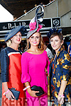 Nollaig McCarthy (Finuge), Tasha O'Connor (Templeglantine) and Jordana Lambadarios (Templeglantine), enjoying Ladies Day at Listowel Races on Friday last.