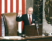 In this file photo dated January 6, 1987, the Speaker of the United States House of Representatives Jim Wright (Democrat of Texas) is sworn in as Speaker in the U.S. Capitol in Washington, D.C. Wright passed away at age 92 on May 6, 2015.<br /> Credit: Arnie Sachs / CNP