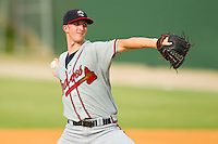 Rome Braves starting pitcher David Filak #27 in action against the Kannapolis Intimidators at CMC-Northeast Stadium on August 5, 2012 in Kannapolis, North Carolina.  The Intimidators defeated the Braves 9-1.  (Brian Westerholt/Four Seam Images)