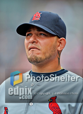 2 September 2012: St. Louis Cardinals catcher Yadier Molina watches action from the dugout during a game against the Washington Nationals at Nationals Park in Washington, DC. The Nationals edged out the visiting Cardinals 4-3, capping their 4-game series with three wins. Mandatory Credit: Ed Wolfstein Photo