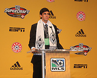 First round draft pick Omar Salgado of the Vancouver Whitecaps at the 2011 MLS Superdraft, in Baltimore, Maryland on January 13, 2010.