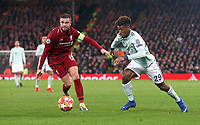 Bayern Munich's Kingsley Coman looks to run past Liverpool's Jordan Henderson<br /> <br /> Photographer Rich Linley/CameraSport<br /> <br /> UEFA Champions League Round of 16 First Leg - Liverpool and Bayern Munich - Tuesday 19th February 2019 - Anfield - Liverpool<br />  <br /> World Copyright © 2018 CameraSport. All rights reserved. 43 Linden Ave. Countesthorpe. Leicester. England. LE8 5PG - Tel: +44 (0) 116 277 4147 - admin@camerasport.com - www.camerasport.com