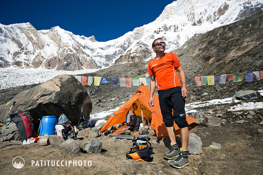 Ueli Steck returned to Nepal and the Annapurna south face in 2013 which he climbed solo, without oxygen, in one 28 hour alpine push, via a new route. The trip was his third attempt to climb the 8000 meter peak. Ueli back in advance basecamp finally gets to take his boots off and get comfortable.