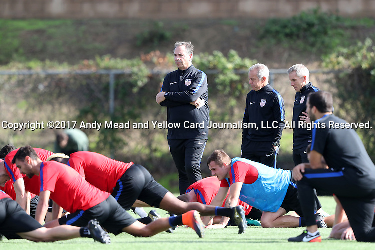 11 January 2017: Head coach Bruce Arena (center). The United States Men's National Team held their first training session under new head coach Bruce Arena on The Murphy Family Field at the StubHub Center in Carson, California.