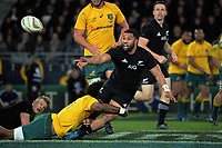 Lima Sopoaga gets a pass away during the Rugby Championship and Bledisloe Cup rugby match between the New Zealand All Blacks and Australia Wallabies at Forsyth Barr Stadium in Dunedin, New Zealand on Saturday, 26 August 2017. Photo: Dave Lintott / lintottphoto.co.nz