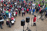 MIT professor Nergis Mavalvala speaks to a rally outside MIT's student center in Cambridge, Massachusetts, during the March for Science demonstration on Sat., April 22, 2017. Mavalvala was awarded a MacArthur Fellowship in 2010, is currently the Associate Head of MIT's Department of Physics and was part of the team that first observed gravitational waves as part of the Laser Interferometer Gravitational-Wave Observatory project.