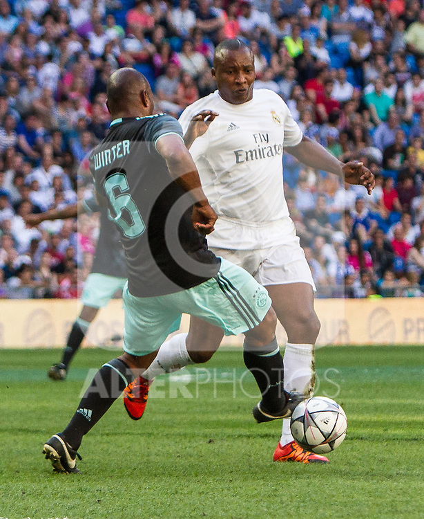 Aron Winter and Edwin Congo during the Corazon Classic Match 2016 at Estadio Santiago Bernabeu between Real Madrid Legends and Ajax Legends. Jun 5,2016. (ALTERPHOTOS/Rodrigo Jimenez)