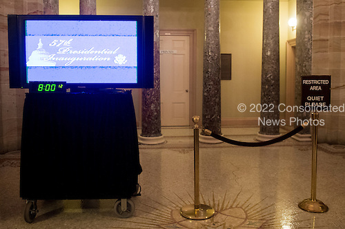 A television monitor sits ready to air United States President Barack Obama's inauguration on the second floor of the Capitol across from the Old Senate Chamber on Monday morning, January 20, 2013..Credit: Bill Clark / Pool via CNP