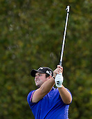 17.10.2014. The London Golf Club, Ash, England. The Volvo World Match Play Golf Championship.  Day 3 group stage matches.  Patrick Reed [USA] tee shot, fourth hole.