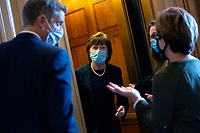 United States Senator Susan Collins (Republican of Maine) speaks to members of the media as she leaves the United States Capitol in Washington D.C., U.S. on Thursday, May 21, 2020. Credit: Stefani Reynolds / CNP /MediaPunch