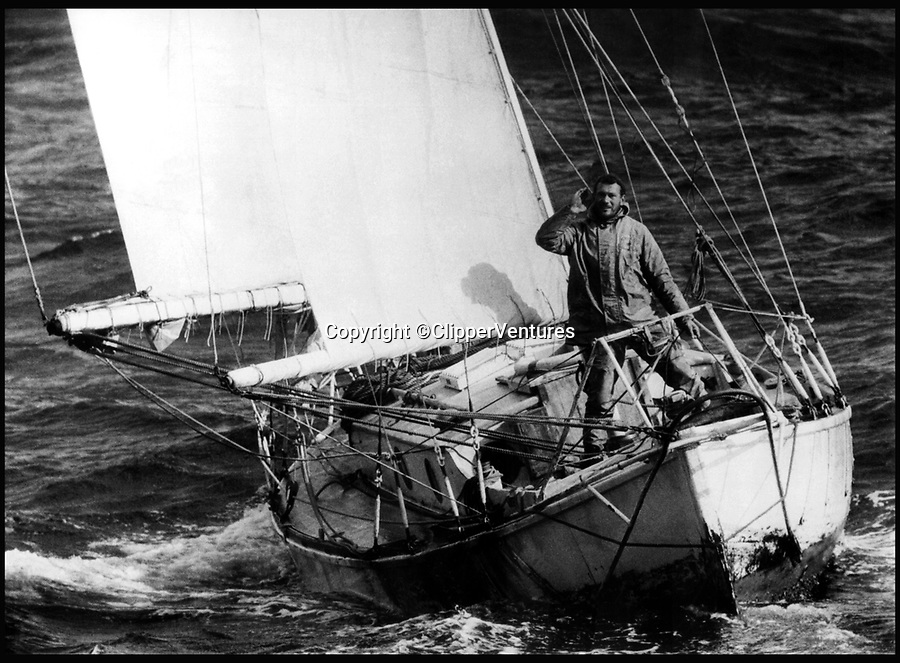 BNPS.co.uk (01202 558833)<br /> Pic: ClipperVentures/BNPS<br /> <br /> ***Please Use Full Byline***<br /> <br /> Sir Robin completing his epic voyage in 1969.<br /> <br /> Sailing legend Sir Robin Knox-Johnston has fired a broadside at the 'bureaucrats' who refused to list his record-breaking yacht on a register for nationally important vessels - because it is 7ins too short.<br /> <br /> The decision has put the future of the Suhaili in jeopardy as the 78-year-old is now seriously considering taking her to America to be cared for when he is no longer able to look after her.<br /> <br /> This year marks the 50th anniversary of the iconic 1968 Golden Globe Race which saw the British adventurer become the first person to single-handedly sail non-stop around the world. <br /> <br /> Sir Robin set off from Falmouth, Cornwall, on Suhaili on June 14, 1968 and returned to great fanfare on April 22, 1969 after his epic 312 day voyage.