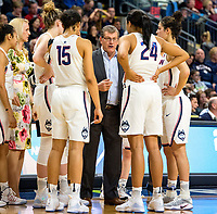 3/25/17 Bridgeport, Ct. Coach Gino Auriemma is still intense with a minute to go up 13 points as the husukies advance to the quarters of the NCAA tournament and win their 110 straight game.