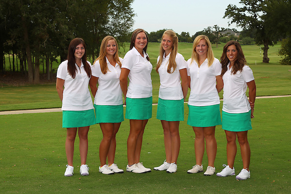 Denton, TX - AUGUST 31: University of North Texas Women's Golf Team head shots (L-R) Keegan Moore, Brooke Bailey, Taylor Kilponen, George Mundy, Chaz Chrismer and McKenzie Ralston at Bridlewood Country Club on August 31, 2012 in Flower Mound, Texas. (Photo by Rick Yeatts)