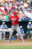 North Carolina State Wolfpack second baseman Logan Ratledge #6 bats during Game 3 of the 2013 Men's College World Series between the North Carolina State Wolfpack and North Carolina Tar Heels at TD Ameritrade Park on June 16, 2013 in Omaha, Nebraska. The Wolfpack defeated the Tar Heels 8-1. (Brace Hemmelgarn/Four Seam Images)