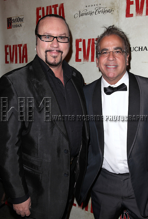 Desmond Child & Richard Jay Alexander.attending the Broadway Opening Night Performance of 'EVITA' at the Marquis Theatre in New York City on 4/6/2012