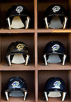 Helmets used during the Charlotte Knights baseball game.