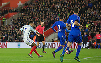 Lewis Baker (Vitesse (on loan from Chelsea) of England scores his goal to make it 2 2 during the Under 21 International Friendly match between England and Italy at St Mary's Stadium, Southampton, England on 10 November 2016. Photo by Andy Rowland.