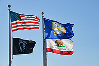 Multiple Flags Flying in Huntington Beach