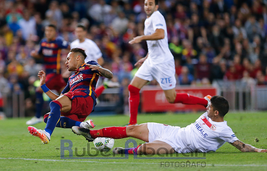 FC Barcelona´s  Brazilian forward Neymar Jr and Sevilla´s defense Ever Banega during the Final of Copa del Rey match between FC Barcelona and SevillaFC at the Vicente Calderon Stadium in Madrid, Sunday, May 22, 2016.