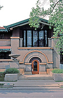 F.L. Wright: Susan Lawrence Dana House. Springfield, ILL. 1904. Main entrance on Lawrence Ave. facing south.  Photo '78.