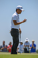 Satoshi Kodaira (JPN) after sinking his putt on 2 during round 2 of the AT&amp;T Byron Nelson, Trinity Forest Golf Club, at Dallas, Texas, USA. 5/18/2018.<br /> Picture: Golffile | Ken Murray<br /> <br /> <br /> All photo usage must carry mandatory copyright credit (&copy; Golffile | Ken Murray)