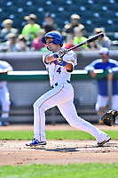 Tennessee Smokies shortstop Zack Short (4) swings at a pitch during a game against the Jackson Generals at Smokies Stadium on April 11, 2018 in Kodak, Tennessee. The Generals defeated the Smokies 6-4. (Tony Farlow/Four Seam Images)