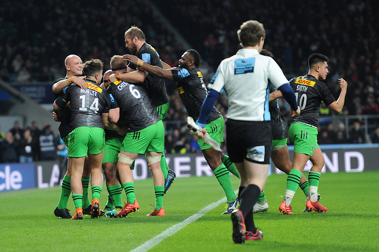 Paul Lasike of Harlequins celebrates with teammates after scoring a try during Big Game 12 in the Gallagher Premiership Rugby match between Harlequins and Leicester Tigers at Twickenham Stadium on Saturday 28th December 2019 (Photo by Rob Munro/Stewart Communications)