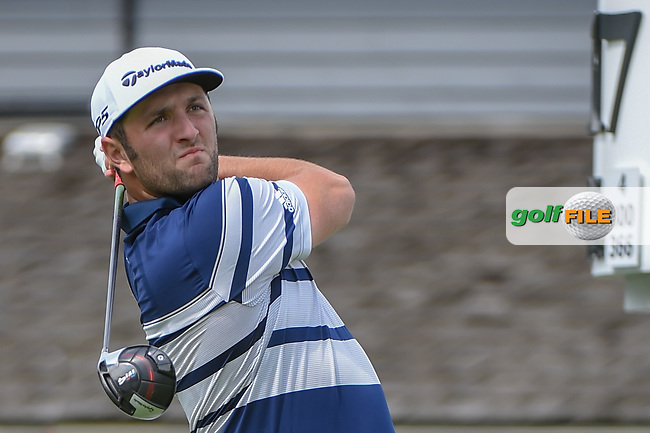Jon Rahm (ESP) watches his tee shot on 17 during 1st round of the World Golf Championships - Bridgestone Invitational, at the Firestone Country Club, Akron, Ohio. 8/2/2018.<br /> Picture: Golffile | Ken Murray<br /> <br /> <br /> All photo usage must carry mandatory copyright credit (© Golffile | Ken Murray)