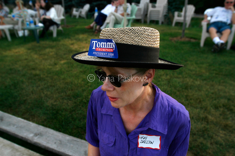 Republican Presidential hopeful Tommy Thompson (R-WI) planned to campaign in Ames, Iowa, on July 06, 2007, until a plane malfunction thwarted his plans.  One of his supporters waits at the grounds on which he was scheduled to speak.