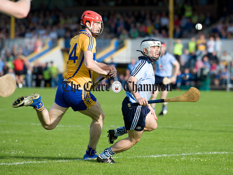 Darach Honan of Clare in action against Ruairi Treanor of Dublin during their All-Ireland senior championship phase 2 qualifier at Cusack Park. Photograph  by John Kelly.