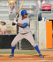Outfielder Jorge Bonifacio (29) of the Burlington Royals, Appalachian League affiliate of the Kansas City Royals, in a game against the Kingsport Mets on August 20, 2011, at Hunter Wright Stadium in Kingsport, Tennessee. Kingsport defeated Burlington, 17-14. (Tom Priddy/Four Seam Images)
