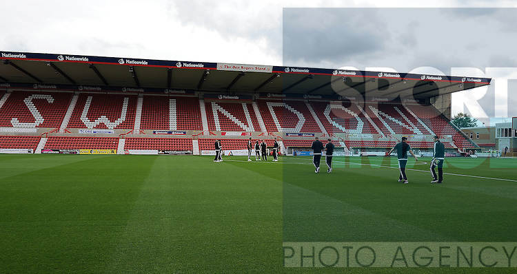 The Sheffield United team walk on to the County Ground before the start of the match<br /> - English League One - Swindon Town vs Sheffield Utd - County Ground Stadium - Swindon - England - 29th August 2015