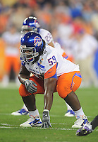 Jan. 4, 2010; Glendale, AZ, USA; Boise State Broncos offensive lineman (59) Will Lawrence against the TCU Horned Frogs in the 2010 Fiesta Bowl at University of Phoenix Stadium. Boise State defeated TCU 17-10. Mandatory Credit: Mark J. Rebilas-