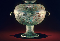 "China:  Food container (dou), Eastern Zhou, late 6th-5th C. B.C.  8 1/8 "" high bronze. Shanghai Museum.  Great Bronze Age of China--exhibition."