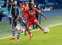 West Bromwich Albion's Grady Diangana (left) competing with Fulham's Joshua Onomah <br /> <br /> Photographer Andrew Kearns/CameraSport<br /> <br /> The EFL Sky Bet Championship - West Bromwich Albion v Fulham - Tuesday July 14th 2020 - The Hawthorns - West Bromwich <br /> <br /> World Copyright © 2020 CameraSport. All rights reserved. 43 Linden Ave. Countesthorpe. Leicester. England. LE8 5PG - Tel: +44 (0) 116 277 4147 - admin@camerasport.com - www.camerasport.com