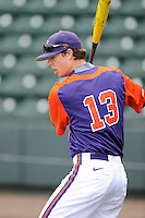 Outfielder Drew Wharton (13) of the Clemson Tigers prior to the Reedy River Rivalry game against the South Carolina Gamecocks on Saturday, February 28, 2015, at Fluor Field at the West End in Greenville, South Carolina. South Carolina won, 4-1. (Tom Priddy/Four Seam Images)