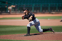 Modesto Nuts relief pitcher Collin Kober (27) during a California League game against the Inland Empire 66ers on April 10, 2019 at San Manuel Stadium in San Bernardino, California. Inland Empire defeated Modesto 5-4 in 13 innings. (Zachary Lucy/Four Seam Images)
