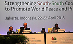 Palestinian Prime Minister Rami Hamdallah chairs the Asian African Conference in Jakarta April 23, 2015. The 60th Asian-African Conference is held in Jakarta and Bandung from 19 to 24 April 2015. Photo by Prime Minister Office