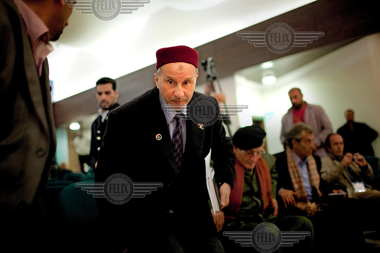 Mustafa Abdul Jalil, the chairman of the Interim Transitional National Council, during a meeting with his colleagues on the Council. On 17 February 2011 Libya saw the beginnings of a revolution against the 41 year regime of Col Muammar Gaddafi.