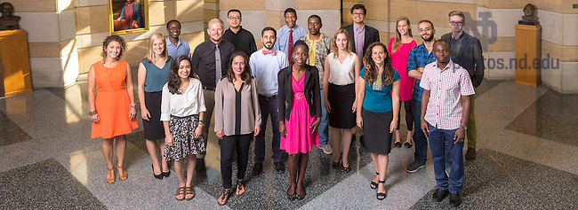 Aug. 21, 2015; Kroc Institute Master Degree students, 2015. (Photo by Matt Cashore/University of Notre Dame)