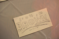 A children's drawing in support of Senator Scott Brown (R-MA) lays on a table at the VFW Post 88 in North Billerica, Massachusetts, USA, on Thurs., Nov. 2, 2012. Senator Scott Brown is seeking re-election to the Senate.  His opponent is Elizabeth Warren, a democrat.