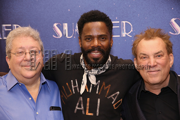 """Ron Melrose, Colman Domingo, Des McAnuff attends the Meet & Greet for """"Summer: The Donna Summer Musical"""" on March 8, 2018 at the New 42nd Street Studios,  in New York City."""
